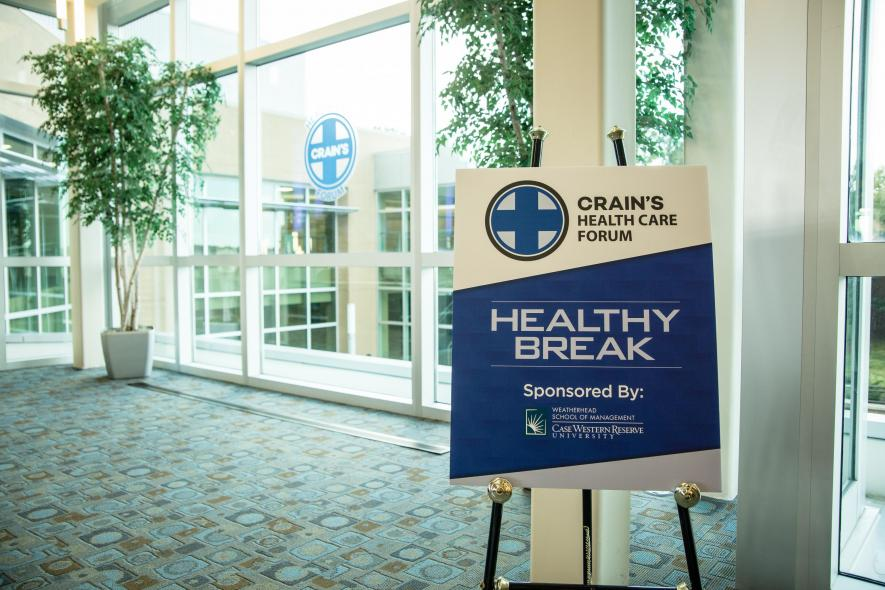 Healthy Break sign at Crain's Health Care Forum